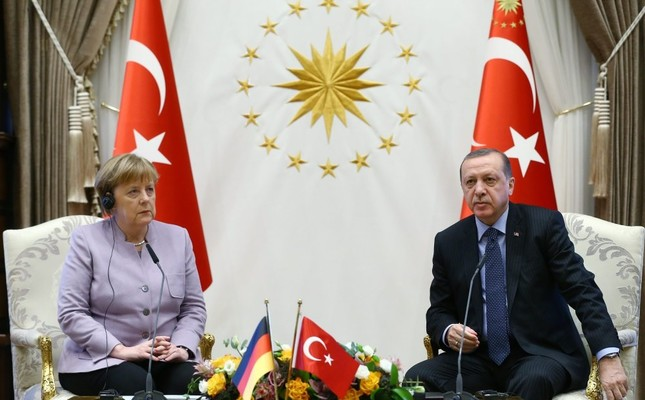 President Recep Tayyip Erdogan and German Chancellor Angela Merkel during their meeting at Beştepe Presidential Complex in Ankara on Feb 2.