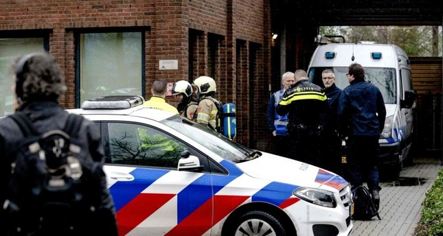 Police and emergency personnel gather during the investigation of a suspicious letter that was delivered to Unisys Payment Services in Leusden, Feb. 13, 2020. Photo by Sander KONING / ANP / AFP / Netherlands OUT