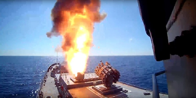 An undated handout video grab made available by the Russian Defence Ministry on 31 May 2017 shows the Admiral Essen frigate of the Russian Navy launching Kalibr cruise missiles from the Mediterranean Sea (reissued 16 June 2017). (EPA Photo)