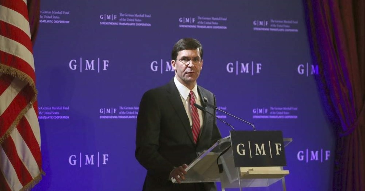 U.S. Secretary for Defense Mark Esper speaks during a panel discussion at the Concert Noble in Brussels, Belgium, 24 October 2019. (EPA Photo)