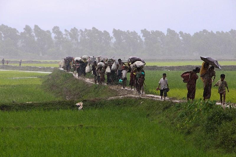 Rohingya refugees from Rakhine state in Myanmar walk along a path near Teknaf in Bangladesh on Sept. 2, 2017. (AFP Photo)
