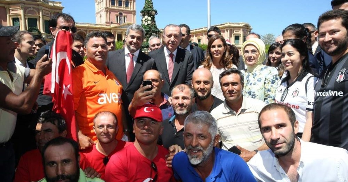 President Recep Tayyip Erdo?an visited Paraguay back in 2018 with First Lady Emine Erdo?an, where they were welcomed by the Paraguayan people with warm feelings, March.12, 2018. (AA PHOTO)
