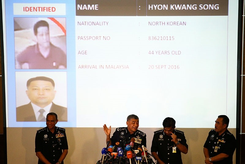 Malaysia's Royal Police Chief Khalid Abu Bakar (C) speaks next to a screen showing North Korean Hyon Kwang Song during a news conference regarding the apparent assassination of Kim Jong Nam (Reuters Photo)