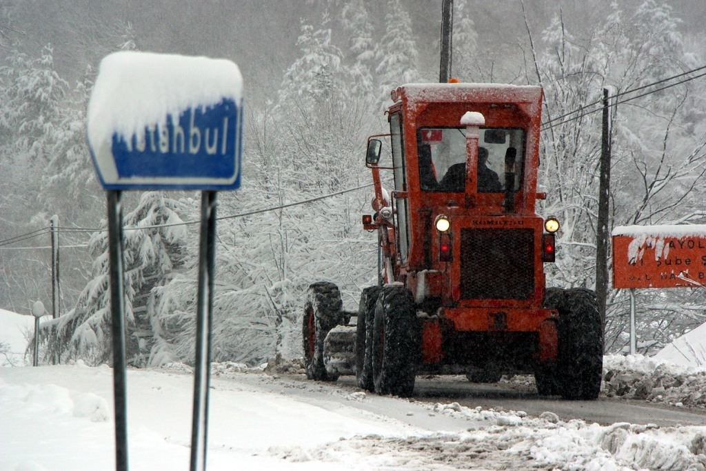 The Trans-European Motorway along the Bolu Mountains was covered with snow