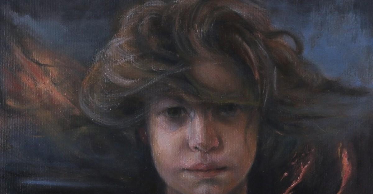 Dou011fuu015f (2019) by Feyzan Alasya, oil painting on canvas, 25 x 25 cm.