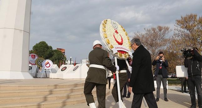 TRNC President Mustafa Akıncı places wreath on the memorial of founding father Rauf Raif Denktaş in Lefkoşa on Jan. 13, 2019. (AA Photo)