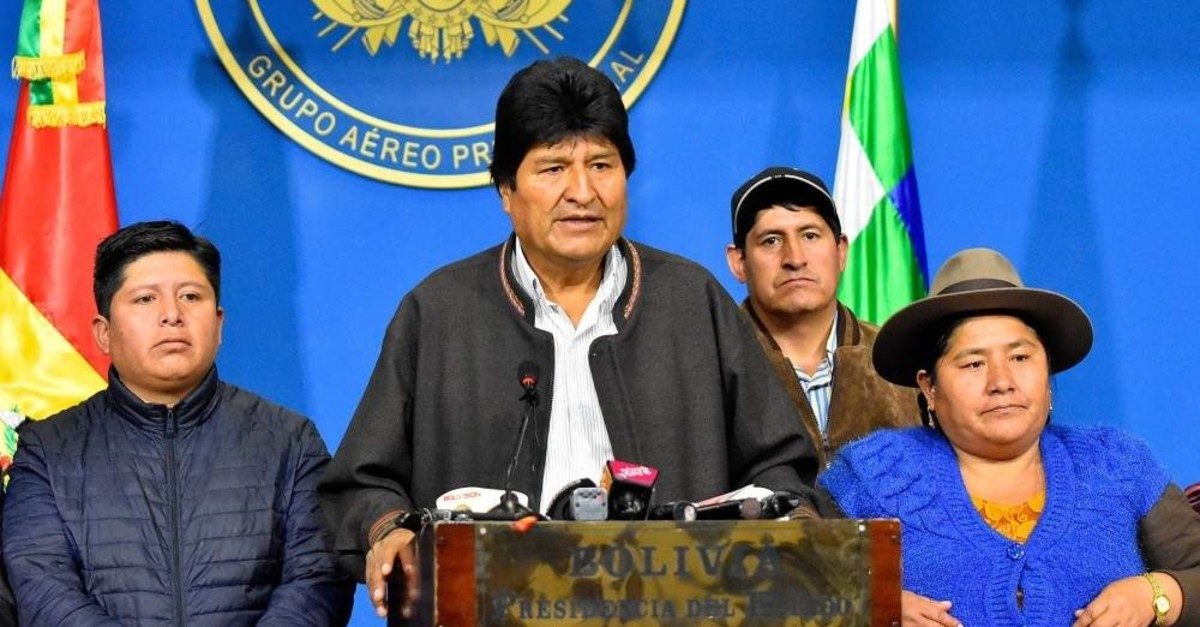 Bolivian President Evo Morales (2-L) delivers a statement in El Alto, Bolivia. (EPA Photo)