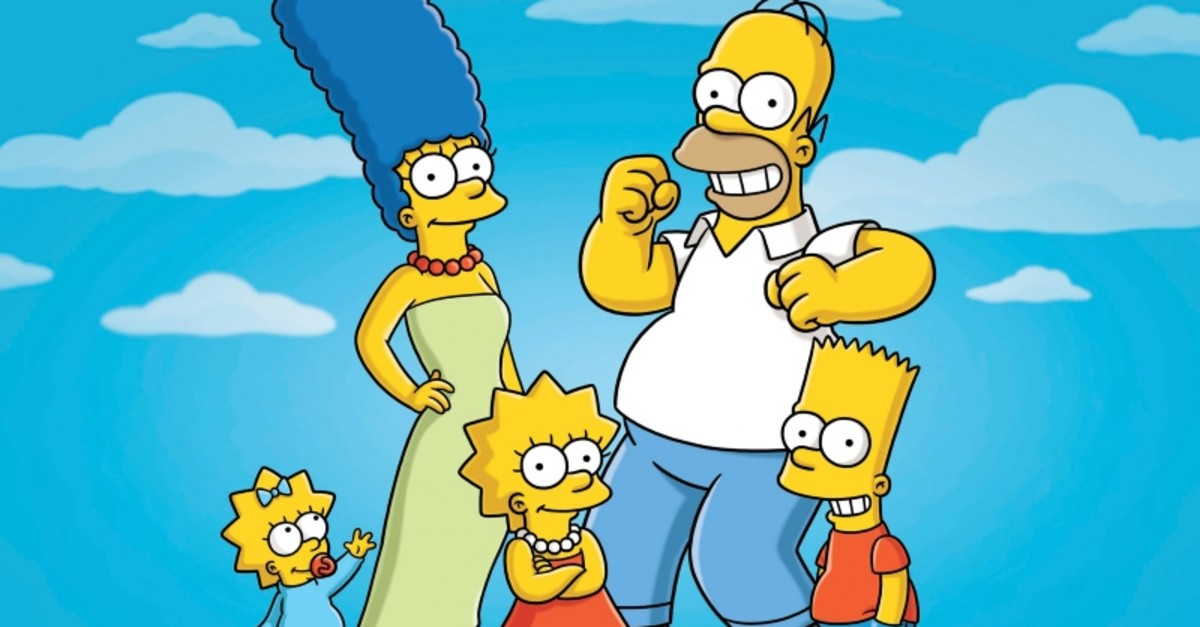 This undated publicity photo released by Fox, shows, from left, from left, Maggie, Marge, Lisa, Homer and Bart  from the animated series, ,The Simpsons,. (AP Photo)
