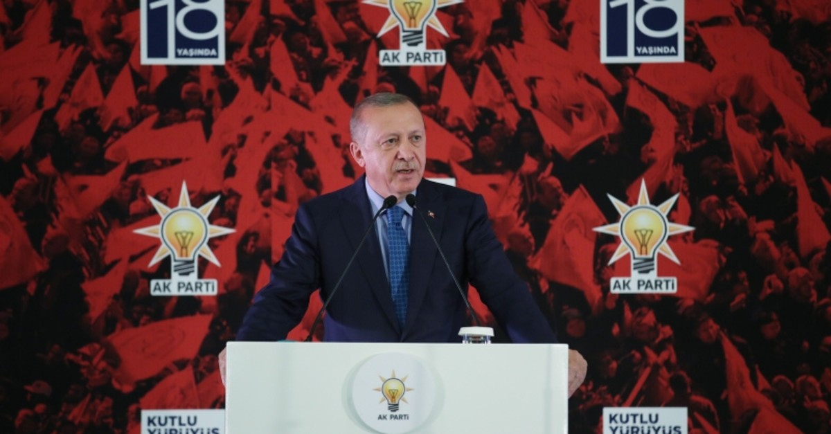 President Recep Tayyip Erdou011fan speaks at the 18th anniversary ceremony of the Justice and Development Party (AK Party) in Ankara, Friday, Aug. 23, 2019 (AA Photo)