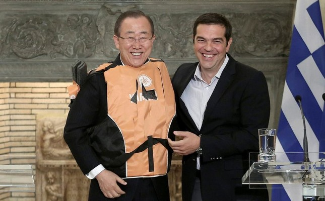 The two leaders have been criticized for smiling while Greek PM Tsipras (R) was giving a lifejacket to Ban Ki-Moon as lifejacket has become symbol of tragedy.