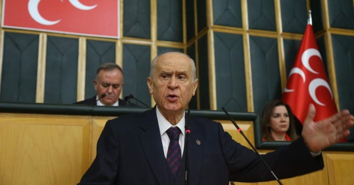 MHP Chairman Devlet Bahu00e7eli speaks at the Turkish Parliament on Tuesday, Feb. 11, 2020. (IHA Photo), To ,MHP Chairman Devlet Bahu00e7eli speaks at the Turkish Parliament on Tuesday, Feb. 11, 2020. (IHA Photo)