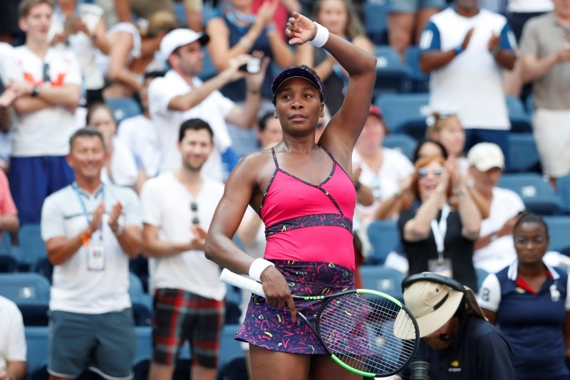 Venus Williams of the United States waves to the crowd in the second round on day three of the 2018 U.S. Open tennis tournament at USTA Billie Jean King National Tennis Center. (Reuters Photo)