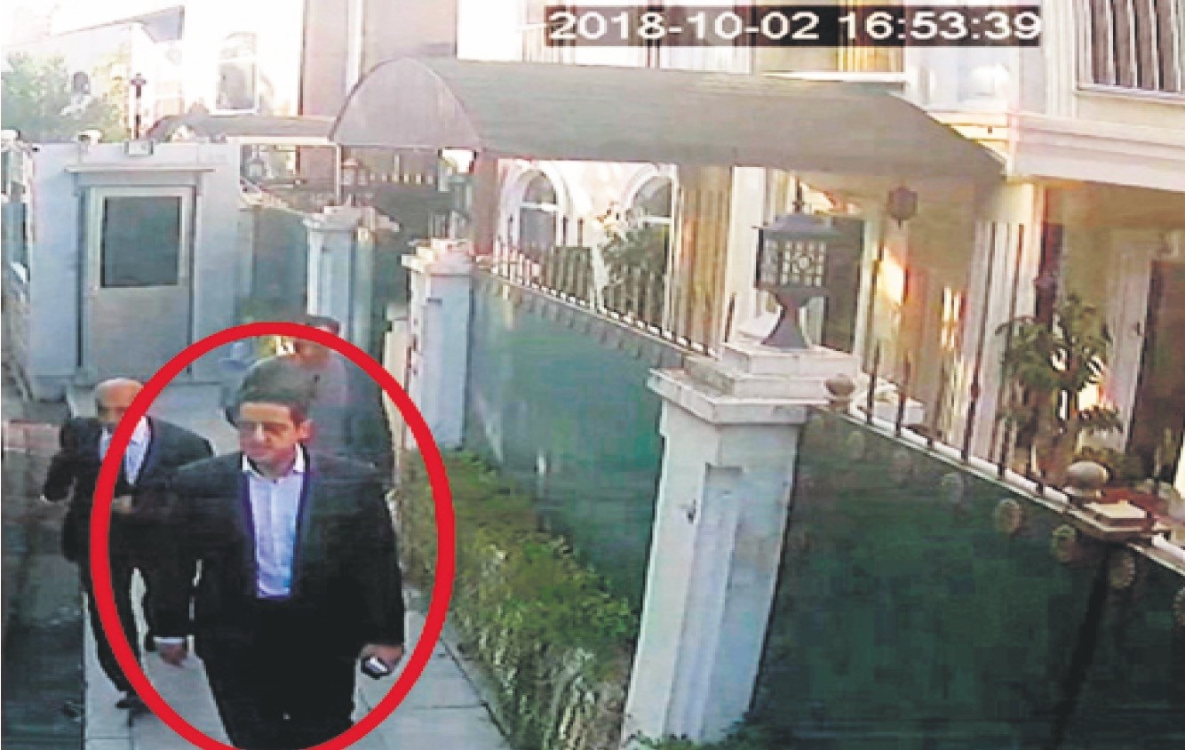 In a still image from surveillance camera, Maher Abdulaziz Mutreb previously seen with Saudi Crown Prince Mohammed bin Salmanu2019s entourage during an April trip to the U.S. walks outside the Saudi consul generalu2019s residence in Istanbul.