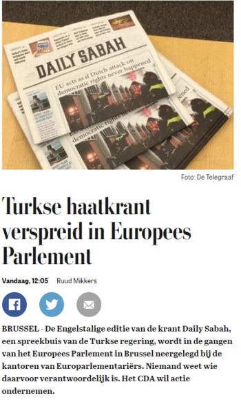 De Telegraaf's title accusing Daily Sabah of spreading hate