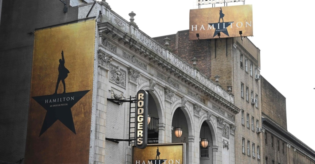 The Richard Rodgers Theatre where ,Hamilton,, one of Broadway's biggest hits, is playing in New York.