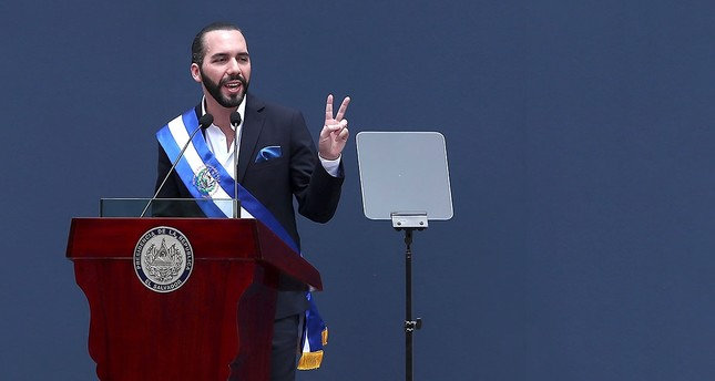 Nayib Bukele offers his first speech after assuming the Presidency of El Salvador for the period 2019-2024. (EPA Photo)