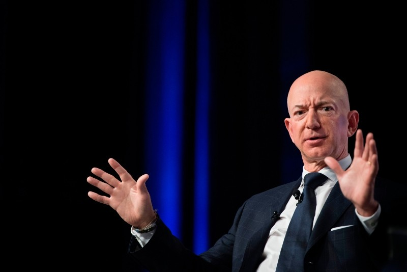In this file photo taken on September 19, 2018 Amazon and Blue Origin founder Jeff Bezos provides the keynote address at the Air Force Association's Annual Air, Space & Cyber Conference in Oxen Hill, MD. (AFP Photo)