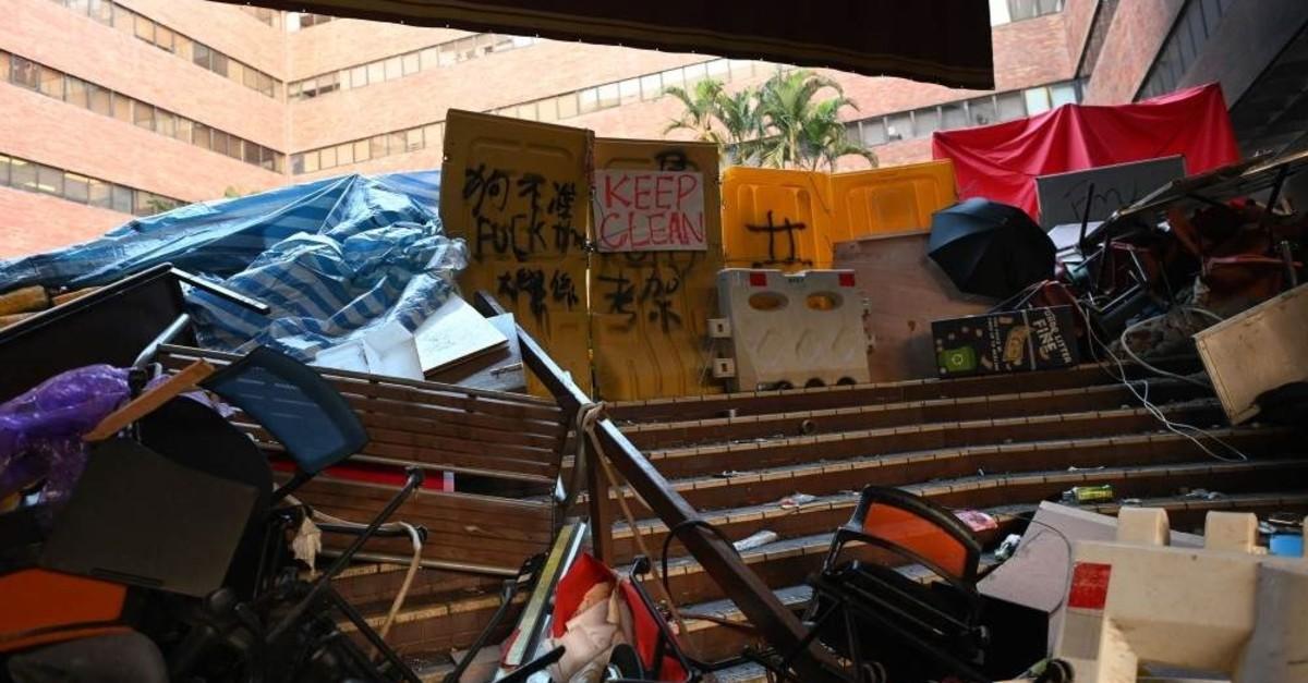 A barricade erected at the campus of Hong Kong Polytechnic University, Hong Kong, Nov. 21, 2019. (AFP Photo)