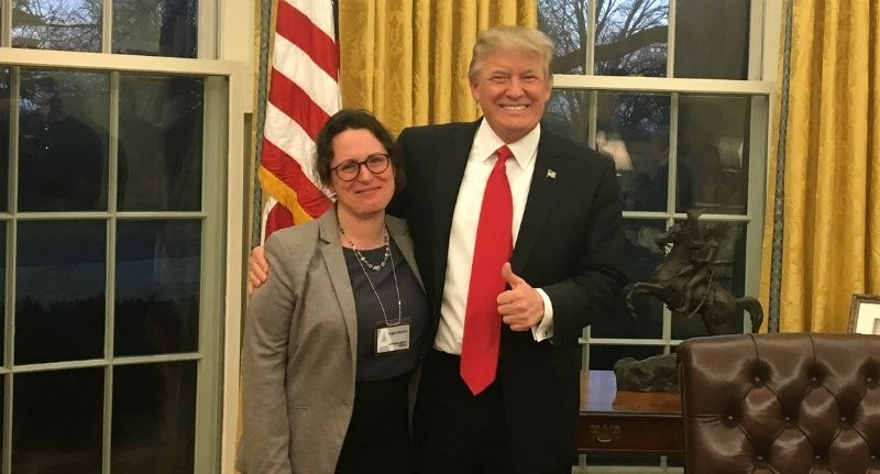 U.S. President Donal Trump and New York Times reporter Maggie Haberman at the White House, in Washington D.C.