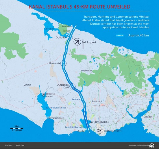 Transportation minister unveils final 45-kilometer route of Kanal Istanbul project
