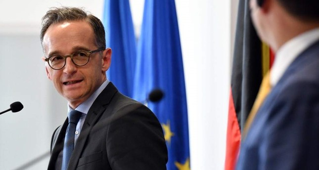 German Foreign Minister Heiko Maas L attends a news conference with his North Macedonia's counterpart upon his arrival in Skopje, on Nov. 13, 2019. AFP Photo