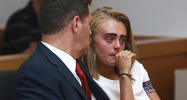 Michelle Carter awaits her sentencing in a courtroom Thursday, Aug. 3, 2017, for involuntary manslaughter for encouraging Conrad Roy III to kill himself in July 2014. (AP Photo)