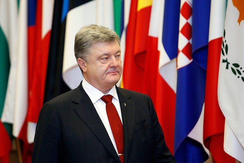 Ukrainian President Petro Poroshenko speaks during a press briefing at the EU Eastern Partnership (EaP) Summit in Brussels, Belgium, Nov. 24, 2017. (EPA Photo)