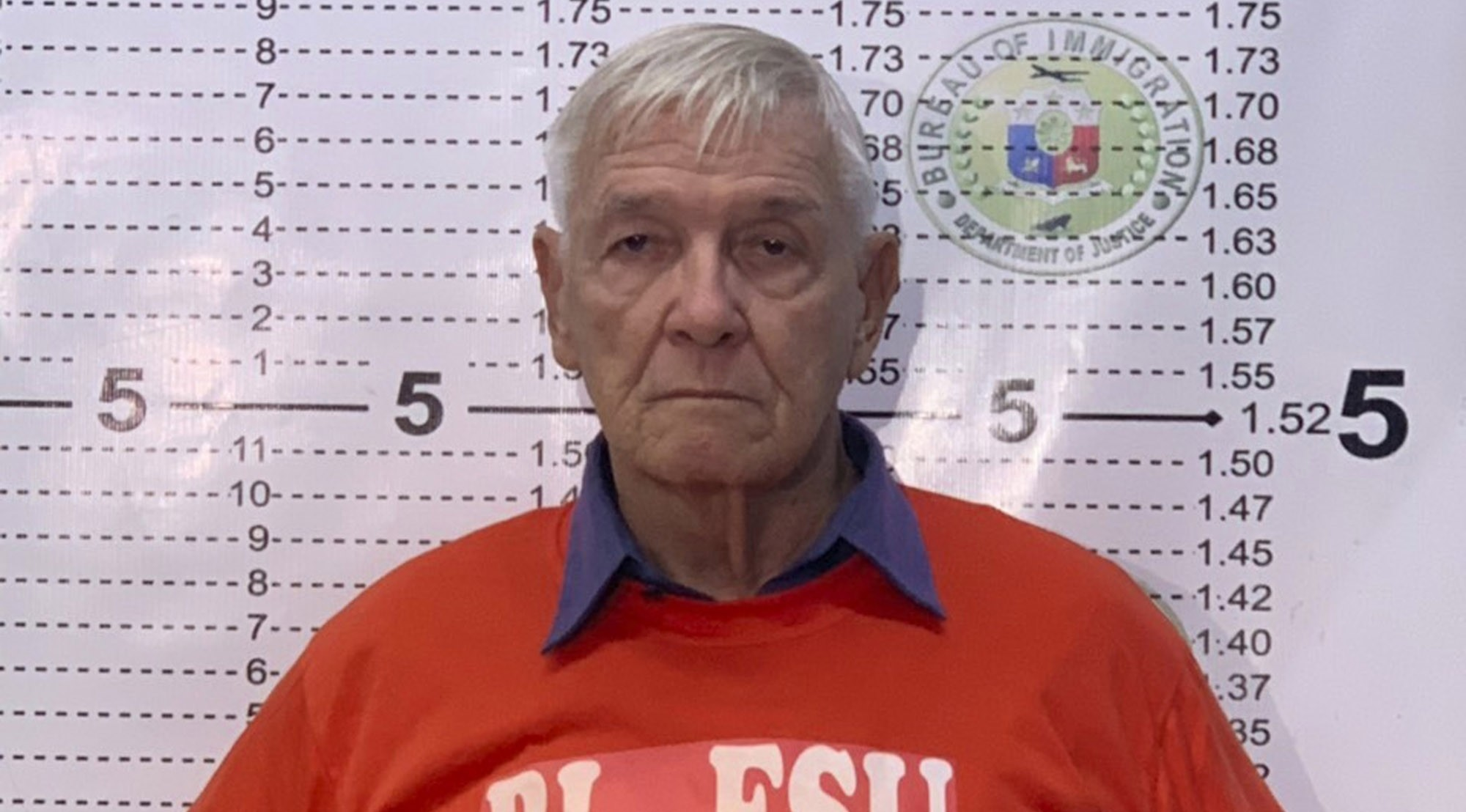 In this Dec. 5, 2018 photo released by the Bureau of Immigration Public Information Office, American Roman Catholic priest Rev. Kenneth Bernard Hendricks poses for his mugshot at the Bureau of Immigration in Manila. (Bureau of Immigration PIO via AP)