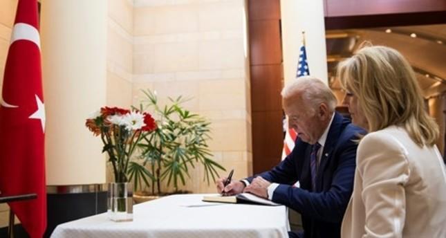 'World is united behind Turkey', VP Biden writes in condolence book at Turkish embassy