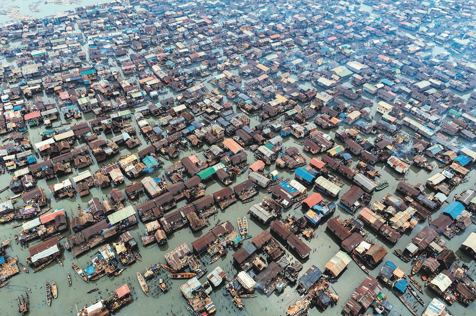 Photo shows Lagos city. English is mostly used in larger cities such as Lagos and Abuja while locals in rural areas prefer their local languages.