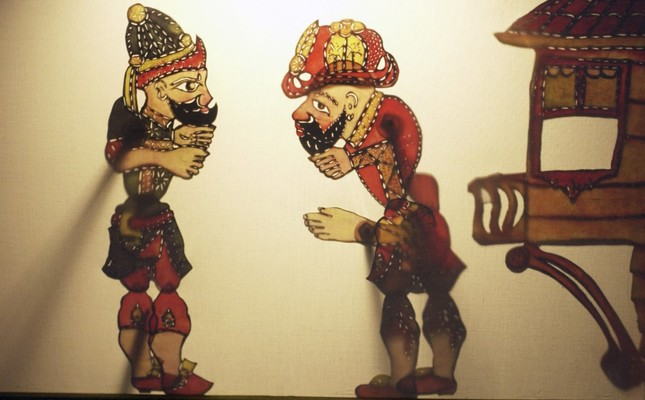 """""""Karagöz and Hacivat"""" shadow plays are one of the sources for traditional Turkish theater along with orta oyunu, improvisation theater and storytelling."""