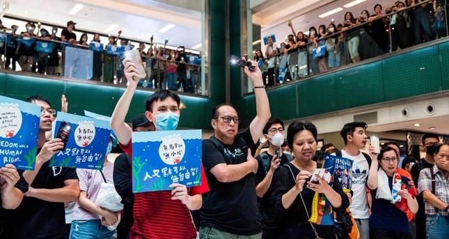 Hundreds of Hong Kong protesters take over mall