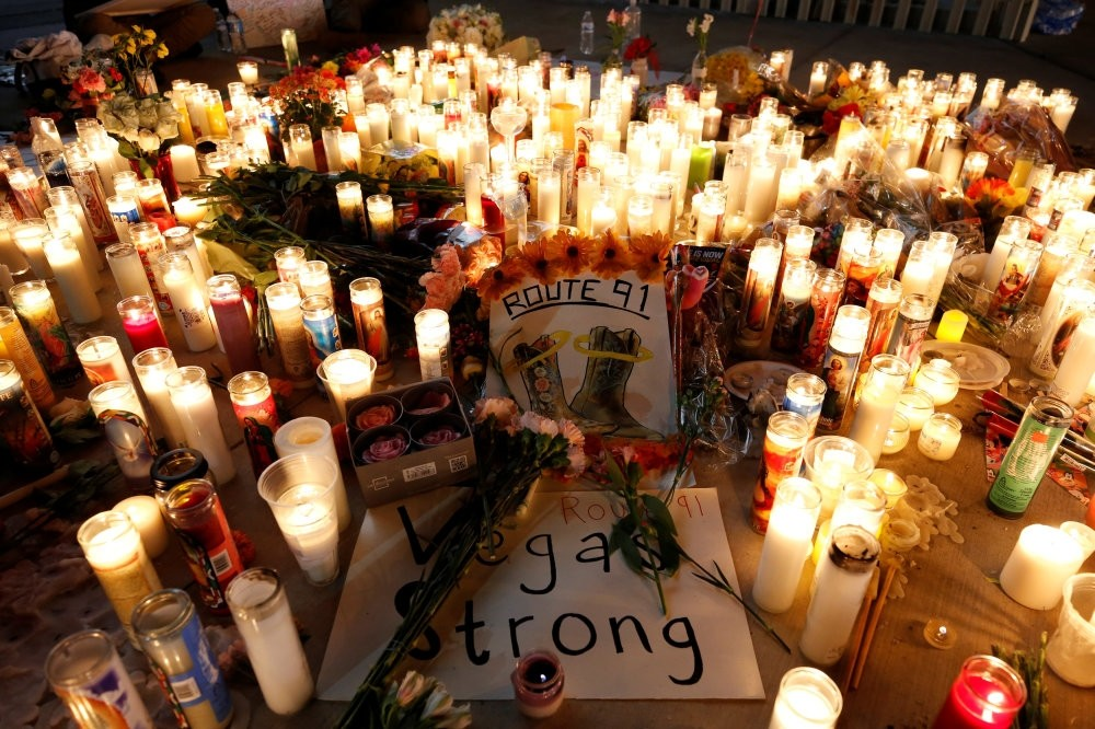A candlelight vigil on the Las Vegas Strip following the mass shooing at the Route 91 Harvest Country Music Festival in Las Vegas, Nevada, Oct. 2.