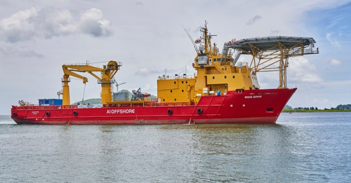 The research vessel Ocean Zephyr lays off Victoria, the Seychelles, on Friday March 1, 2019, where it will spend several days loading and testing equipment ahead of a weeks-long expedition to explore the depths of the Indian Ocean. (AP Photo)