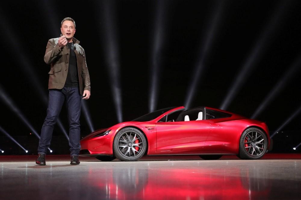 Tesla CEO Elon Musk unveils the Roadster 2 during a presentation in Hawthorne, California, Nov. 16.