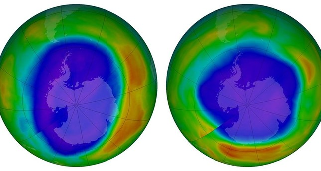 These NASA images show areas of low ozone above Antarctica on September 2000, left, and September 2018. The purple and blue colors are where there is the least ozone, and the yellows and reds are where there is more ozone. (NASA via AP)
