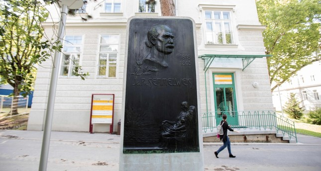A commemorative plaque for pioneering scientist Ignaz Phillip Semmelweis stands in the garden of the General Hospital in Vienna.