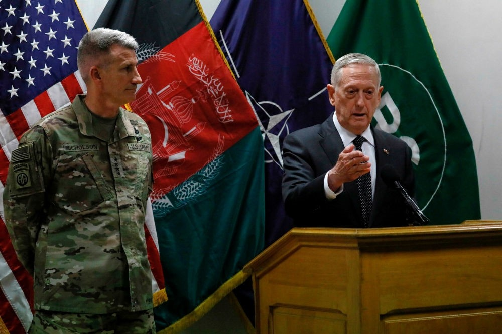 U.S. Defense Secretary James Mattis  and U.S. Army General John Nicholson hold a news conference at Resolute Support headquarters in Kabul on April 24.