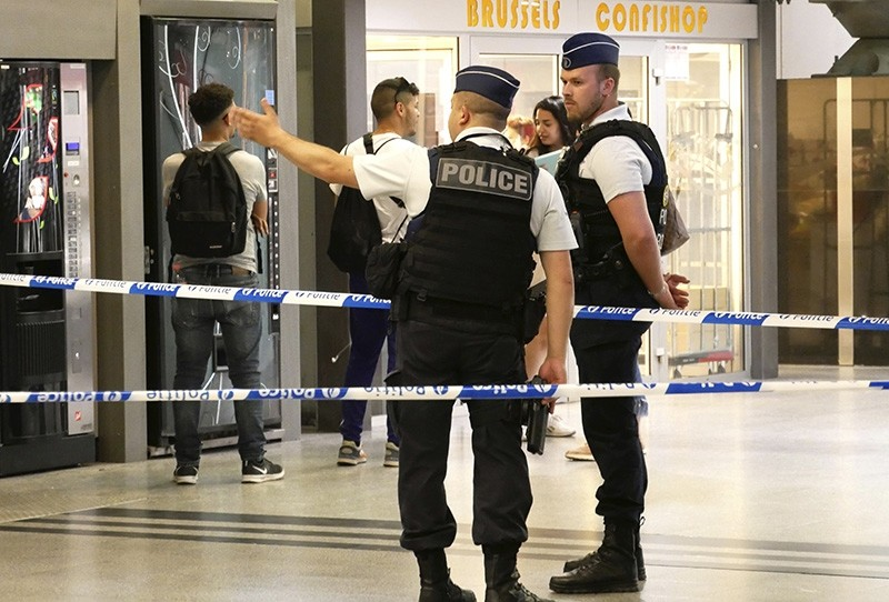 Police set up a safety perimeter at Brussels South train station after reports of an incident in Brussels on Wednesday, May 9, 2018. (AP Photo)