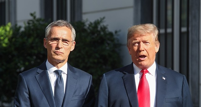 NATO Secretary General Jens Stoltenberg (L) and US President Donald J. Trump meet ahead of a NATO Summit, at the U.S. Embassy in Brussels, Belgium, July 11, 2018. (EPA Photo)