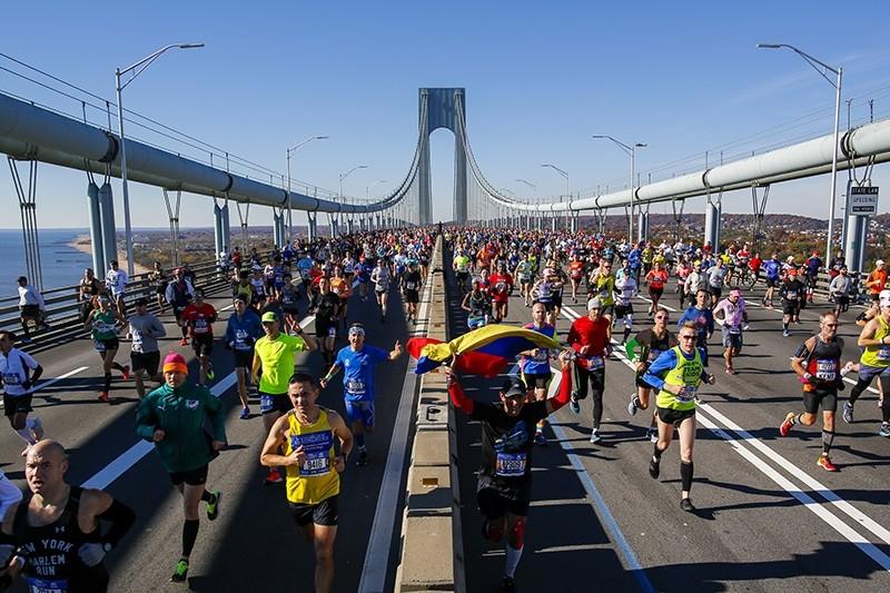 Runners cross the Verrazano-Narrows Bridge during the New York City Marathon on Sunday, Nov. 4, 2018, in New York. (AP Photo)