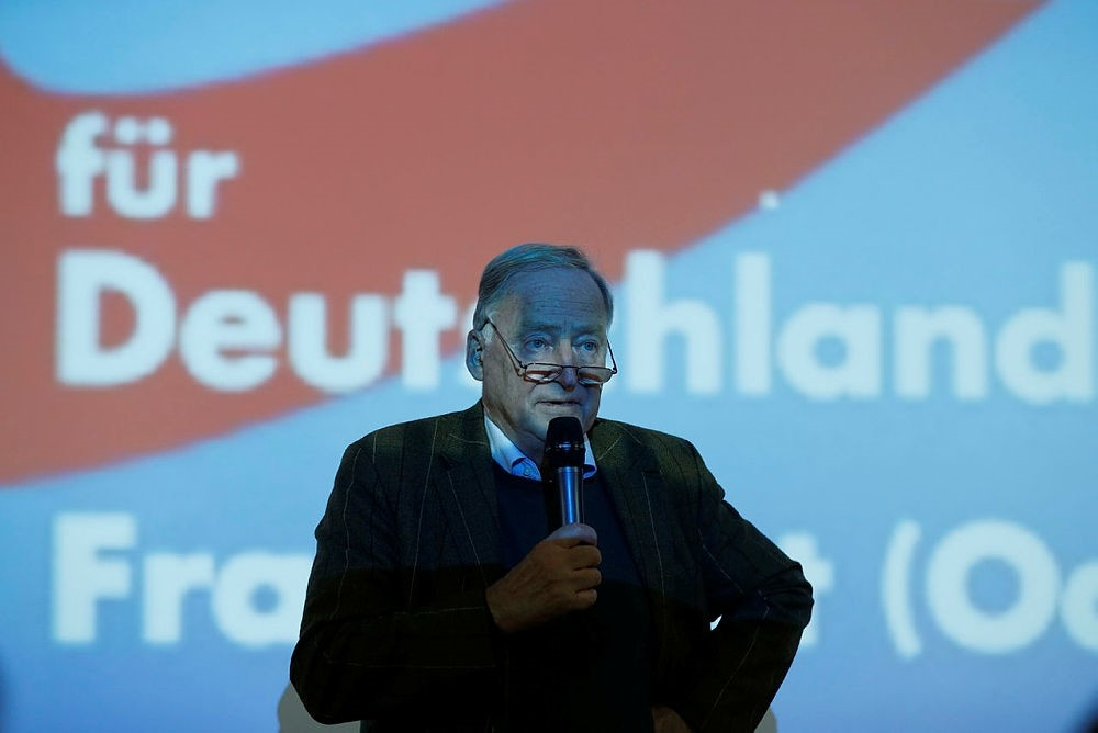 Top candidate of AfD (Alternative fuer Deutschland) party for upcoming general elections Alexander Gauland, gives a speech in Frankfurt, Germany, on September 11, 2017. (AFP Photo)