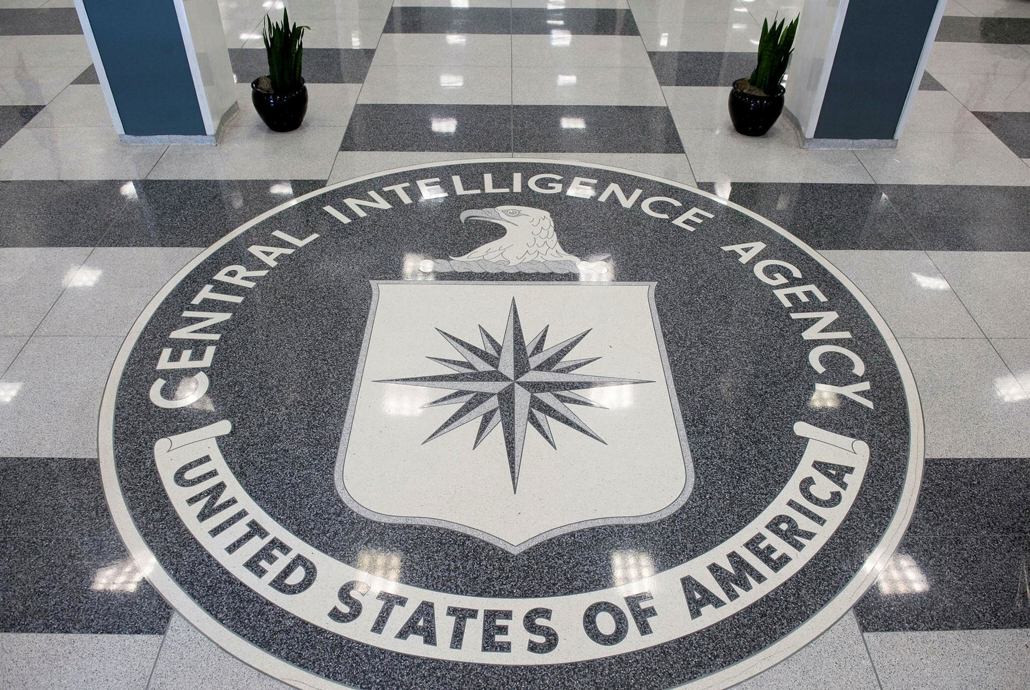 The seal of the Central Intelligence Agency (CIA) in the lobby of CIA Headquarters in Langley, Virginia.