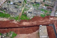 Drone video captures trenches dug by YPG terrorists in Ayn al-Arab near Turkish border