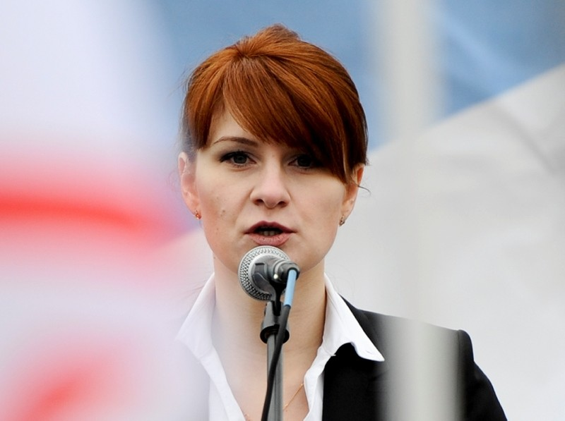 In this photo taken on Sunday, April 21, 2013, Maria Butina, leader of a pro-gun organization in Russia, speaks to a crowd during a rally in support of legalizing the possession of handguns in Moscow, Russia. (AP Photo)