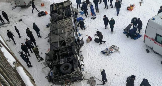 A photo obtained from the Instagram account of dtp38rus shows a bus crash site at Kuenga River, some 60 km from Sretensk, Siberia on Dec. 1, 2019. (AFP Photo)