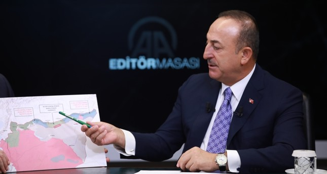 Foreign Minister Mevlüt Çavuşoğlu speaks at the Anadolu Agency's Editor's Desk on Wed. Oct. 23, 2019 (AA Photo)