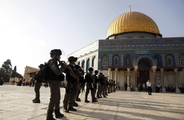 Israeli border police stand guard at the Al-Aqsa Mosque compound, Jerusalem, July 27, 2017. AP Photo