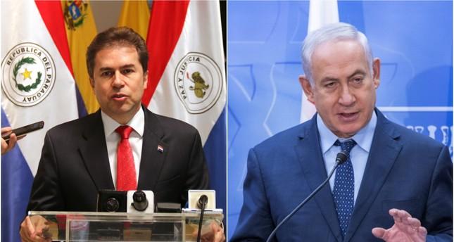 Paraguayan Foreign Minister Luis Alberto Castiglioni and Israeli Prime Minister Benjamin Netanyahu. (EPA Photos)