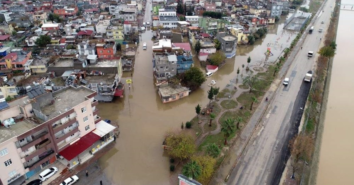 Floodwaters inundated entire neighborhoods in Adana. (DHA Photo)